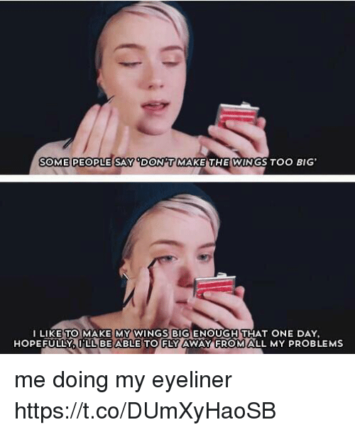 Wings, Girl Memes, and Big: SOME PEOPLE SAY DONT  THE WINGS Too BIG  MAKE LIKE TO MAKE MY WINGS BIGENOUGH THAT ONE DAY,  HOPEFULLY  LL BE ABLE TO FLY AWAY FROM ALL MY PROBLEMS me doing my eyeliner https://t.co/DUmXyHaoSB