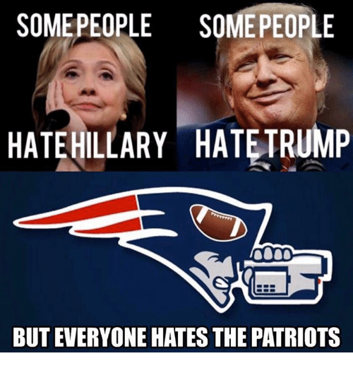 Memes, 🤖, and The Patriot: SOME PEOPLE  SOME PEOPLE  HATE HILLARY HATETRUMP  BUT EVERYONE HATES THE PATRIOTS