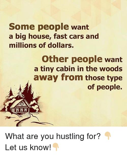 cabin in the woods: Some people want  a big house, fast cars and  millions of dollars  Other people want  a tiny cabin in the woods  away from those type  of people. What are you hustling for? 👇🏼Let us know!👇🏼