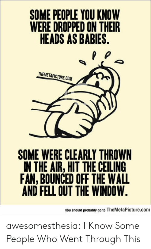 out the window: SOME PEOPLE YOU KNOW  WERE DROPPED ON THEIR  HEADS AS BABIES.  THEMETAPICTURE.COM  SOME WERE CLEARLY THROWN  IN THE AIR, HIT THE CEILING  FAN, BOUNCED OFF THE WALL  AND FELL OUT THE WINDOW.  you should probably go to TheMetaPicture.com awesomesthesia:  I Know Some People Who Went Through This