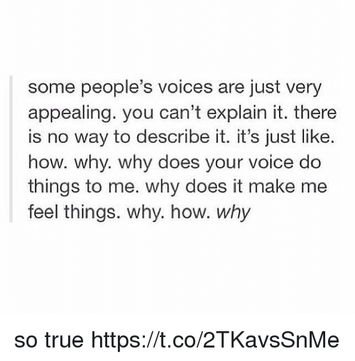 True, Voice, and Girl Memes: some people's voices are just very  appealing. you can't explain it. there  is no way to describe it. it's just like.  how. why. why does your voice do  things to me. why does it make me  feel things. why. how. why so true https://t.co/2TKavsSnMe
