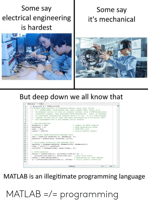 """electrical engineering: Some say  electrical engineering  is hardest  Some say  t's mechanical  But deep down we all know that  %OFD TS OrDM mo du 1mte  frequency-danai"""" Input over to.r.  12-  19  26-  27  ofdim,t  Les  Cell  MATLAB is an illegitimate programming language MATLAB =/= programming"""