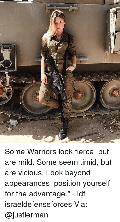 "Memes, Warriors, and Mild: Some Warriors look fierce, but are mild. Some seem timid, but are vicious. Look beyond appearances; position yourself for the advantage."" - idf israeldefenseforces Via: @justlerman"