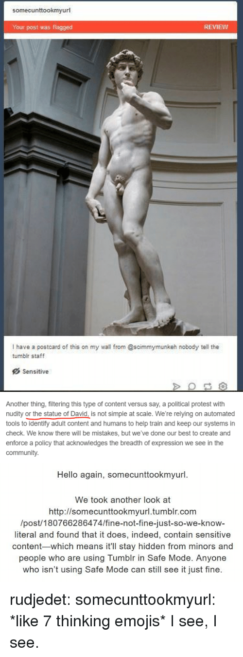 nudity: somecunttookmyurl  Your post was flagged  REMEW  I have a postcard of this on my wall from @scimmymunkeh nobody tell the  tumblr staff  Sensitive   Another thing, filtering this type of content versus say, a political protest with  nudity or the statue of David, is not simple at scale. We're relying on automated  tools to identify adult content and humans to help train and keep our systems in  check. We know there will be mistakes, but we've done our best to create and  enforce a policy that acknowledges the breadth of expression we see in the  communit)y.   Hello again, somecunttookmyurl  We took another look at  http://somecunttookmvurl.tumblr.com  /post/180766286474/fine-not-fine-just-so-we-know-  literal and found that it does, indeed, contain sensitive  content-which means it'll stay hidden from minors and  people who are using Tumblr in Safe Mode. Anyone  who isn't using Safe Mode can still see it just fine. rudjedet: somecunttookmyurl: *like 7 thinking emojis* I see, I see.