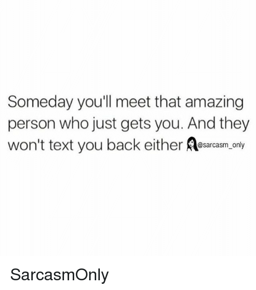 Funny, Memes, and Text: Someday you'll meet that amazing  person who just gets you. And they  won't text you back either esarasm, only  sarcasm onl SarcasmOnly