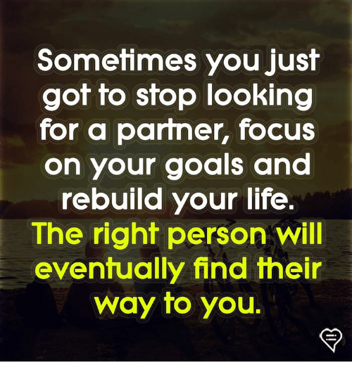Goals, Life, and Memes: Somefimes you Just  got to stop looking  for a partner, focus  on your goals and  rebuild your life.  The right person will  eventually find their  way to you.