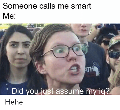 Did You Just Assume: Someone calls me smart  Mе:  AГH  Did you just assume my iq? Hehe