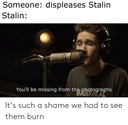 Stalin, Shame, and Them: Someone: displeases Stalin  Stalin:  You'll be missing from the photographs  BASERHEAL It's such a shame we had to see them burn