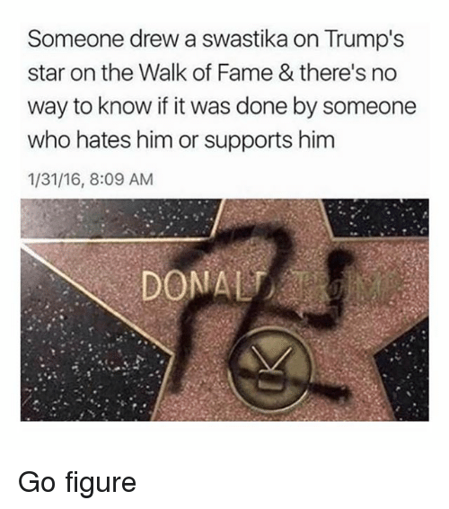 Drewing: Someone drew a swastika on Trump's  star on the Walk of Fame & there's no  way to know if it was done by someone  who hates him or supports him  1/31/16, 8:09 AM Go figure