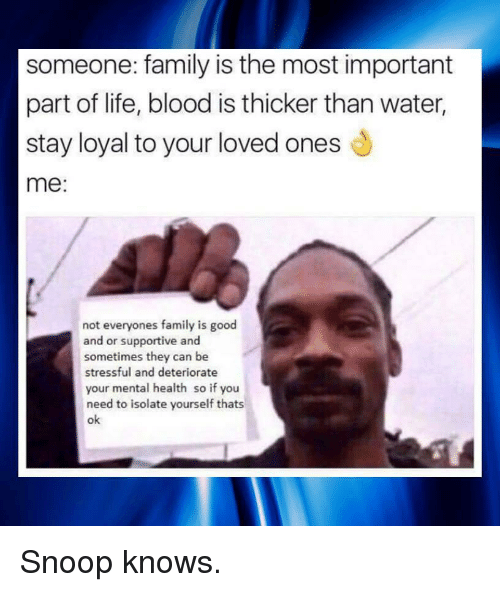 Family, Life, and Snoop: someone: family is the most important  part of life, blood is thicker than water,  stay loyal to your loved ones  me:  not everyones family is good  and or supportive and  sometimes they can be  stressful and deteriorate  your mental health so if you  need to isolate yourself thats  ok <p>Snoop knows.</p>
