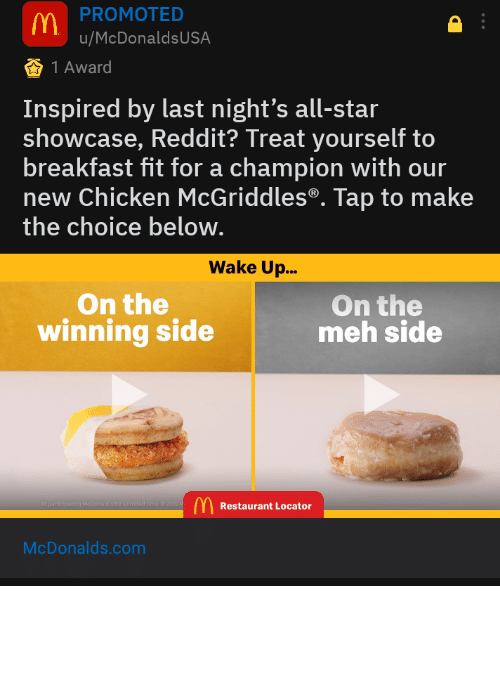 mcdonalds ad: Someone gave this mcdonalds ad a gold.