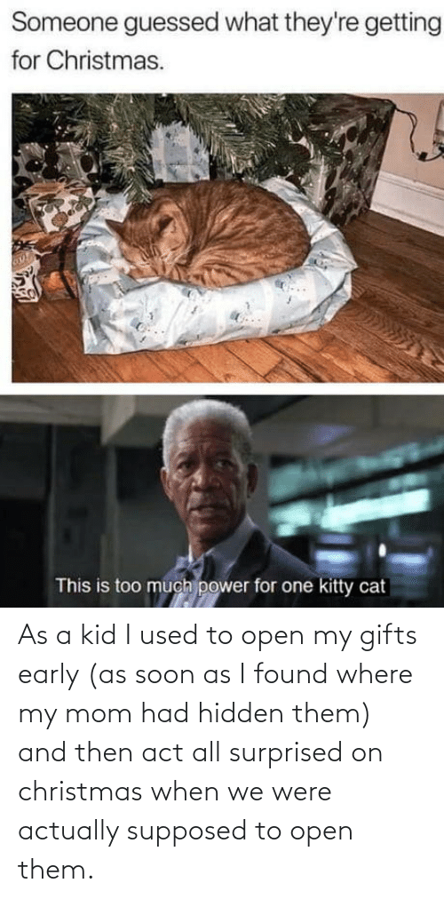 surprised: Someone guessed what they're getting  for Christmas.  This is too much power for one kitty cat As a kid I used to open my gifts early (as soon as I found where my mom had hidden them) and then act all surprised on christmas when we were actually supposed to open them.