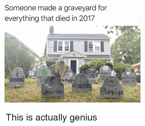 ombre: Someone made a graveyard for  everything that died in 2017  Homem  SLIN  WATCHING  LIVE TV  les  #rosea  Pay  Ombre Hair  PlumpLps This is actually genius