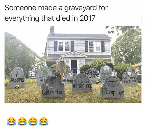 ombre: Someone made a graveyard for  everything that died in 2017  聩  DABBING  WATCHING  LIVE TV  SL  Paylé  rosed  Ombre Hair  Pl  ump Lips 😂😂😂😂