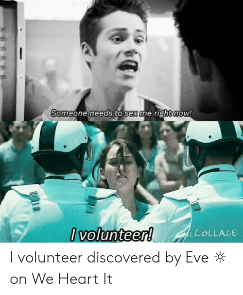 I Volunteer Meme: Someone needs to sex me right now!  I volunteer!  PCOLLAGE I volunteer discovered by Eve ☼ on We Heart It