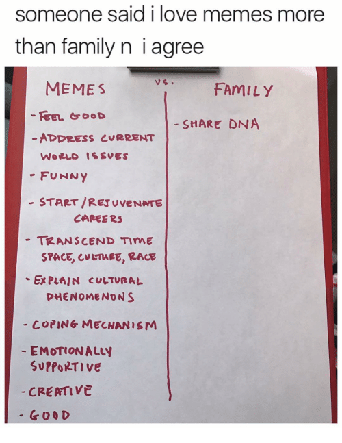 Creativer: someone said i love memes more  than family n i agree  MEME S  FAMILY  FEEL GOOD  SHARE DNA  ADDRESS CURRENT  WORLD ISSUES  FUNNY  START /RETUVENATE  CAREERS  TRANSCEND TImE  SPACE CMETMEE, RACE  Ex PLAIN CULTURAL  PHENOMENON S  COPING MECHANISM  EMOTIONALty  SvPfORTIVE  CREATIVE  G O O D