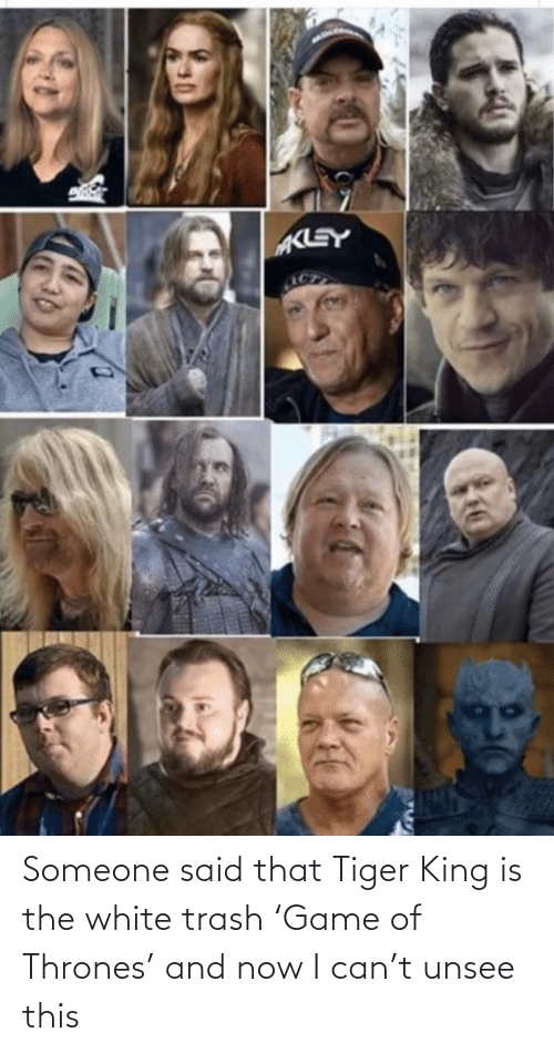 Tiger: Someone said that Tiger King is the white trash 'Game of Thrones' and now I can't unsee this