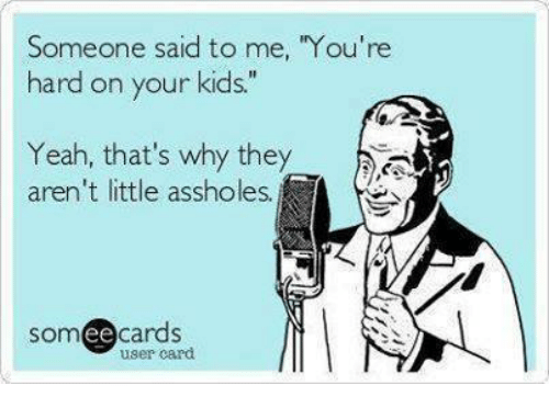 """Ee Cards: Someone said to me, """"You're  hard on your kids.""""  Yeah, that's why they  aren't little assholes  SOm  ee  cards  user card"""