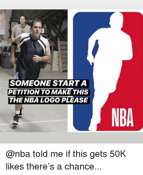 nba logo: SOMEONE STARTA  PETITION TO MAKE THIS  THE NBA LOGO PLEASE  NBA @nba told me if this gets 50K likes there's a chance...