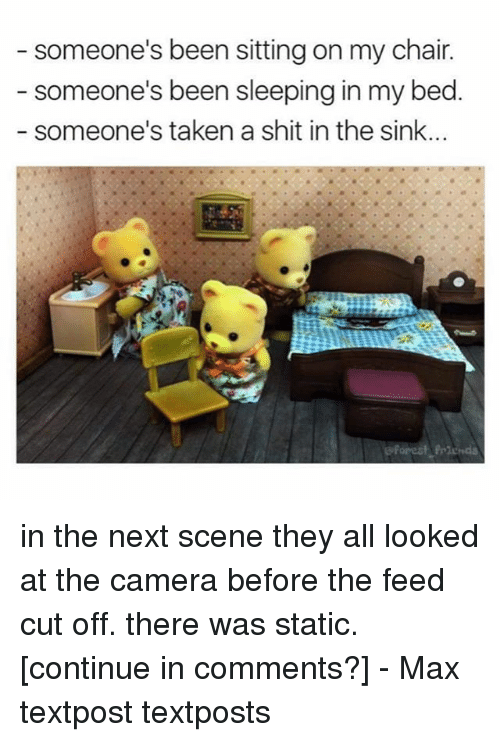 statics: someone's been sitting on my chair.  someone's been sleeping in my bed  someone's taken a shit in the sink. in the next scene they all looked at the camera before the feed cut off. there was static. [continue in comments?] - Max textpost textposts