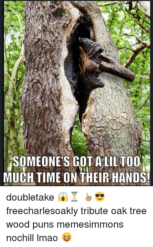 Wood Puns: SOMEONE'S GOT A LIL T001  MUCH TIME ON THEIR HANDS! doubletake 😱⏳ ☝🏽️😎 freecharlesoakly tribute oak tree wood puns memesimmons nochill lmao 😆