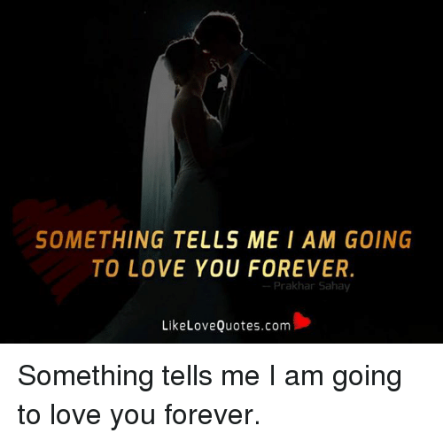 Love, Memes, and Forever: SOMETHING TELLS ME I A M GOING  TO LOVE YOU FOREVER.  Prakhar Saha  Like Love Quotes.com Something tells me I am going to love you forever.