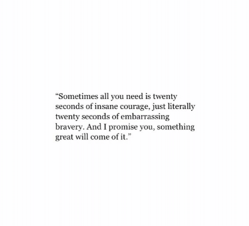 """bravery: """"Sometimes all you need is twenty  seconds of insane courage, just literally  twenty seconds of embarrassing  bravery. And I promise you, something  great will come of it."""""""