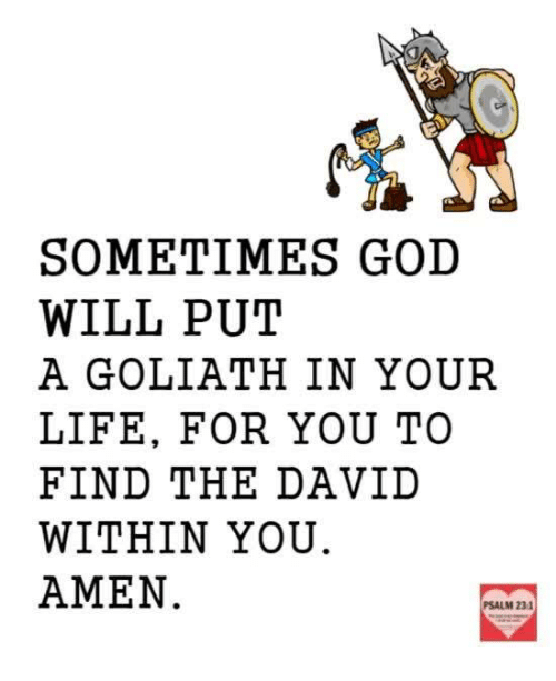 Memes, 🤖, and Amen: SOMETIMES GOD  WILL PUT  A GOLIATH IN YOUR  LIFE, FOR YOU TO  FIND THE DAVID  WITHIN YOU.  AMEN  PSALM 23.1