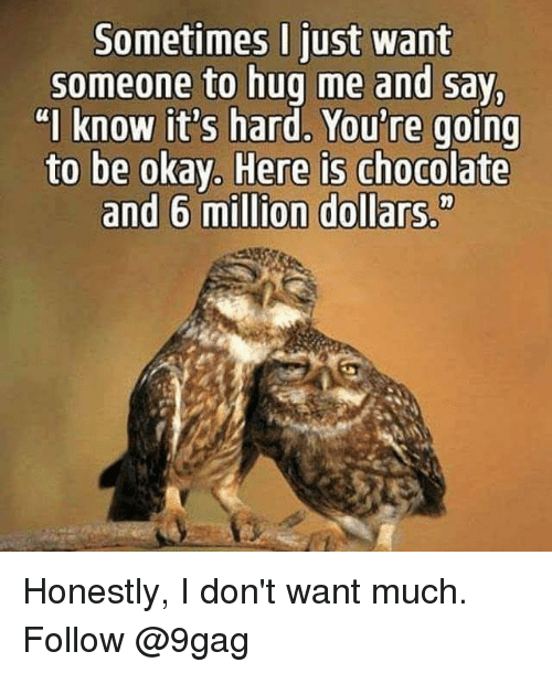"9gag, Memes, and Chocolate: Sometimes I just want  someone to hug me and say  ""I know it's hard, You're going  ere is chocolate  and 6 million dollars."" Honestly, I don't want much. Follow @9gag"