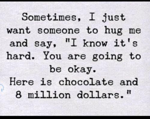 "million dollars: Sometimes, I just  want someone to hug me  and say, ""I know it's  hard. You are going to  be okay  Here is chocolate and  8 million dollars"