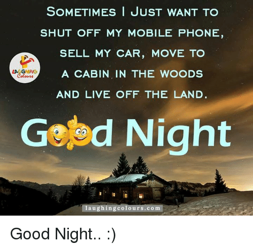 car moving: SOMETIMES I JUST WANT TO  SHUT OFF MY MOBILE PHONE  SELL MY CAR, MOVE TO  LA GHING  A CABIN IN THE WOODS  AND LIVE OFF THE LAND  Gefed Night  aughingcolours.com Good Night.. :)