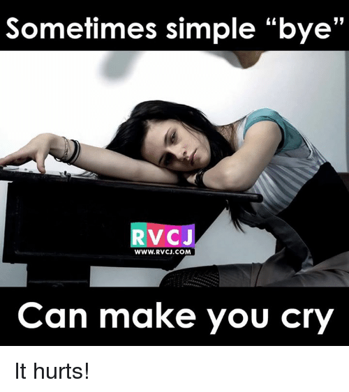 "Memes, 🤖, and Bye: Sometimes simple ""bye'  V CJ  WWW. RVCJ.COM  Can make you cry It hurts!"