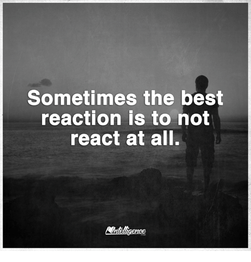 Best Reaction: Sometimes the best  reaction is to not  react at all.