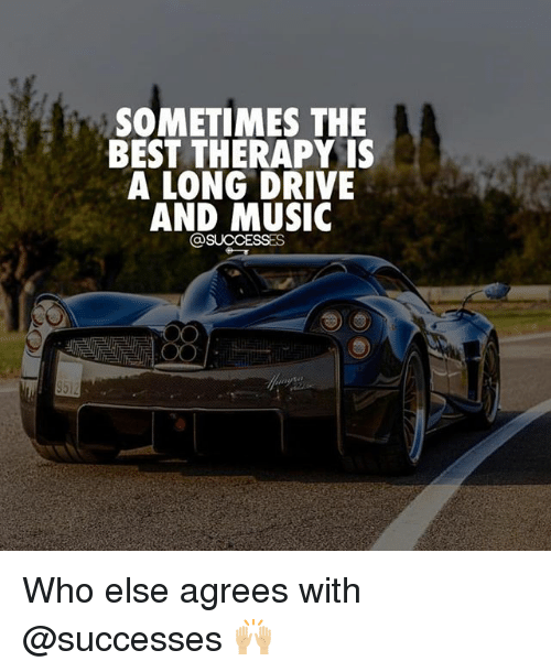 Driving, Memes, and Music: SOMETIMES THE  BEST THERAPY IS  A LONG DRIVE  AND MUSIC Who else agrees with @successes 🙌🏼