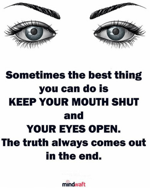 Memes, Best, and Truth: Sometimes the best thing  you can do is  KEEP YOUR MOUTH SHUT  and  YOUR EYES OPEN  The truth always comes out  in the end.  mindwaft
