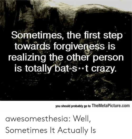 Forgiveness: Sometimes, the first step  towards forgiveness is  realizing the other person  is totally bat-st crazy.  you should probably go to TheMetaPicture.com awesomesthesia:  Well, Sometimes It Actually Is