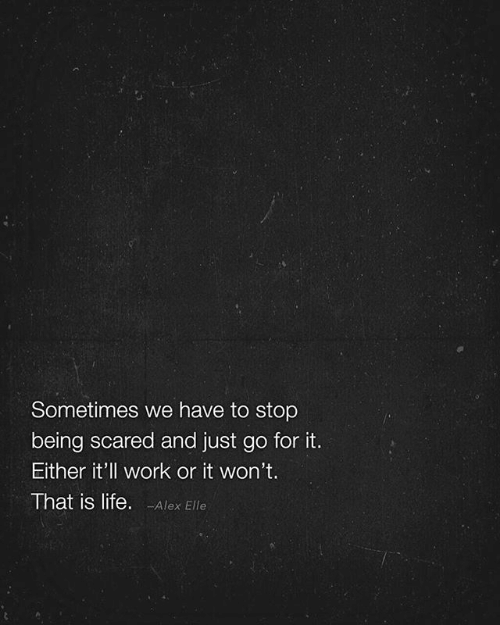 Is Life: Sometimes we have to stop  being scared and just go for it.  Either it'll work or it won't.  That is life. -Alex Elle