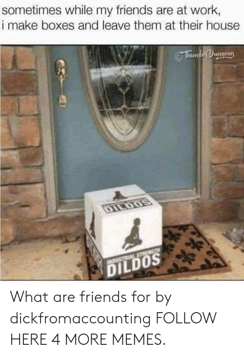 dildos: sometimes while my friends are at work,  i make boxes and leave them at their house  Chumter ngeon  DILDOS What are friends for by dickfromaccounting FOLLOW HERE 4 MORE MEMES.