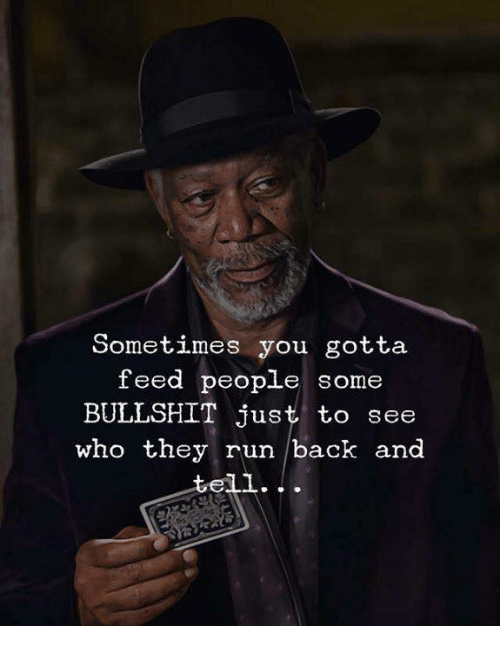 Some Bullshit: Sometimes you gotta  feed people  some  BULLSHIT just to see  who they run back and  tell.