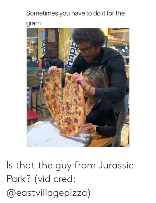 Girl Memes: Sometimes you have to do it for the  gram Is that the guy from Jurassic Park? (vid cred: @eastvillagepizza)