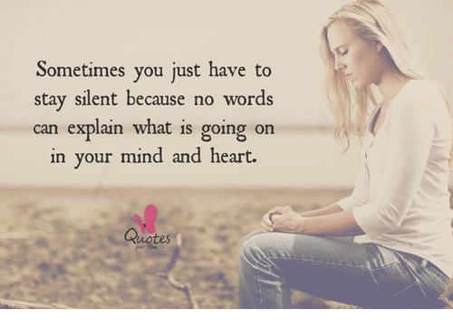 Sometimes You Just Have To Stay Silent Because No Words