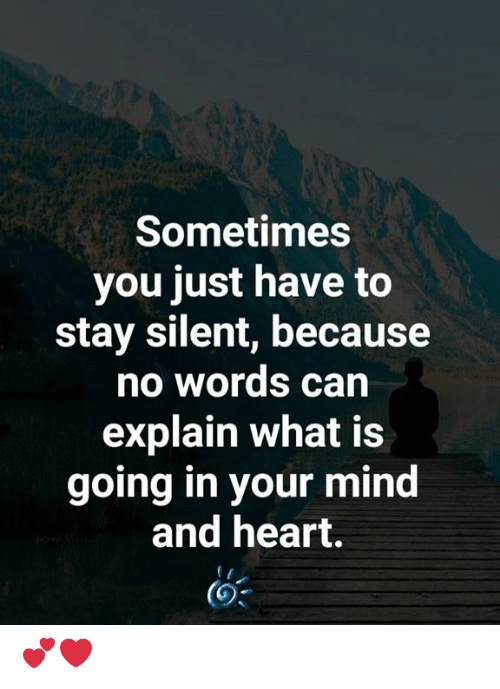 No Words: Sometimes  you just have to  stay silent, because  no words can  explain what is  going in your mind  and heart. 💕❤️
