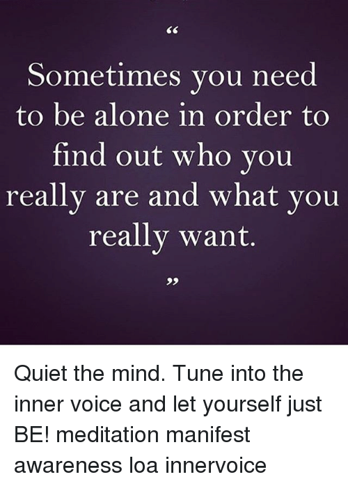 Being Alone, Memes, and Meditation: Sometimes you need  to be alone in order to  find out who you  really are and what you  really want. Quiet the mind. Tune into the inner voice and let yourself just BE! meditation manifest awareness loa innervoice