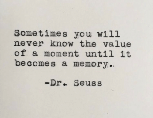 Dr. Seuss: Sometimes you will  never know the value  of a moment until it  be comes a memory  -Dr.. Seuss