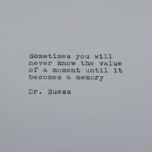will never know: Sometimes you will  never know the value  of a moment until it  becomes a memory  Dr. Suess