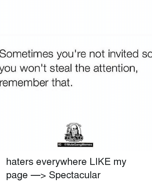 Mula Gang: Sometimes you're not invited so  you won't steal the attention  remember that.  IG- a Mula Gang Memes haters everywhere  LIKE my page —> Spectacular