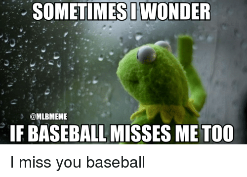 Baseball, Mlb, and You: SOMETIMESIWONDER  @MLBMEME  IF BASEBALL MISSES ME TOO I miss you baseball