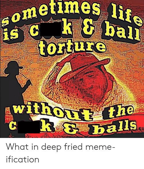 life ball: Sometlmes life  ball  torture  without the  *k & balls  R What in deep fried meme-ification