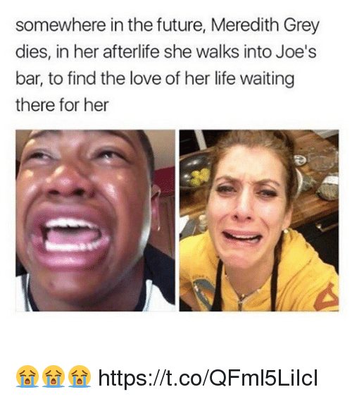 Future, Life, and Love: somewhere in the future, Meredith Grey  dies, in her afterlife she walks into Joe's  bar, to find the love of her life waiting  there for her 😭😭😭 https://t.co/QFml5LiIcI