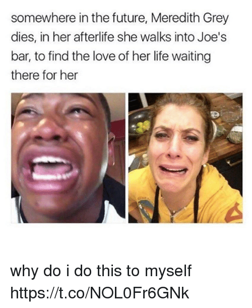Future, Life, and Love: somewhere in the future, Meredith Grey  dies, in her afterlife she walks into Joe's  bar, to find the love of her life waiting  there for her why do i do this to myself https://t.co/NOL0Fr6GNk